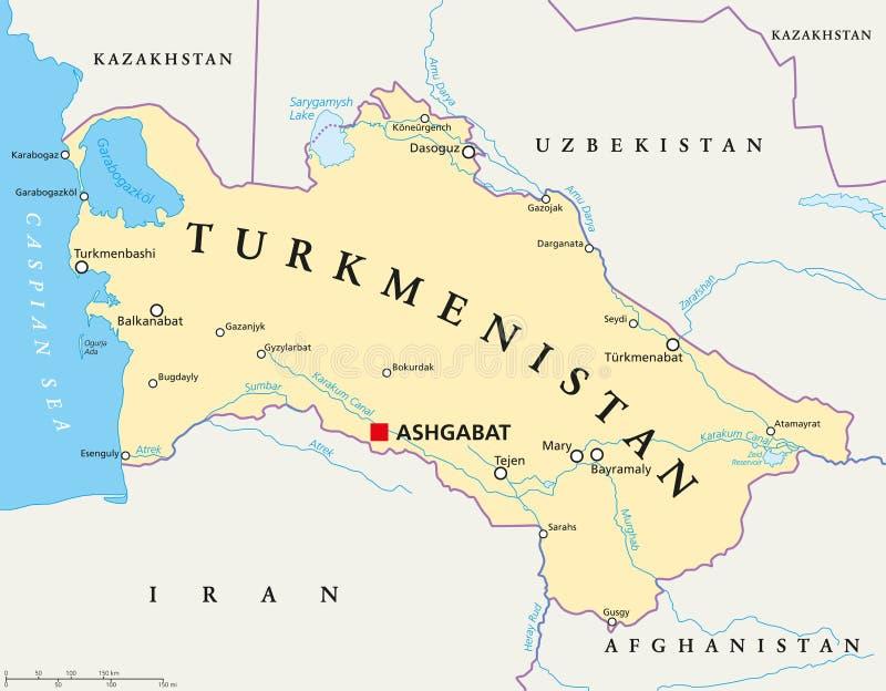 Turkmenistan Political Map stock vector Illustration of karakum