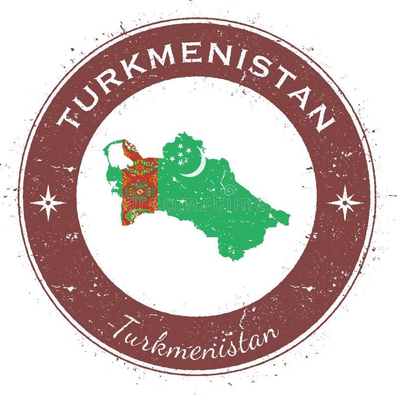 Turkmenistan runt patriotiskt emblem royaltyfri illustrationer