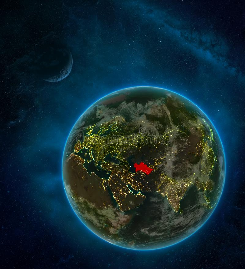Turkmenistan from space on Earth at night surrounded by space with Moon and Milky Way. Detailed planet with city lights and clouds. 3D illustration. Elements royalty free illustration