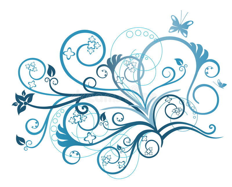 Turkoois bloemenontwerpelement royalty-vrije illustratie