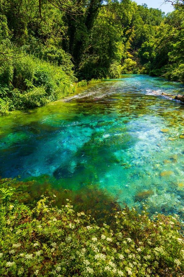 Turkoois de lente Blauw Oog - Syri i Kalter, dichtbij een stad van Muzine, Albanië stock afbeelding
