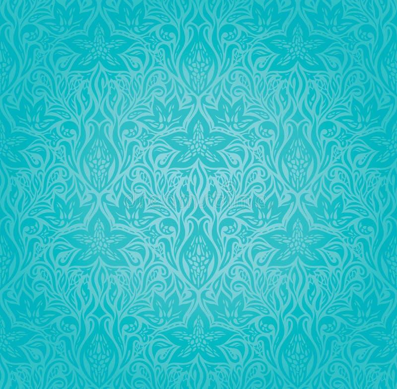 Turkoois decoratief overladen mandalaontwerp stock illustratie