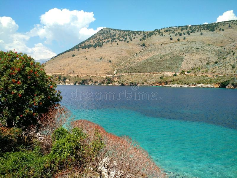 Turkoois en blauw stock afbeelding