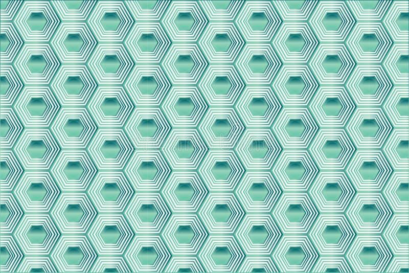 Turkoois Hexagon Patroon royalty-vrije illustratie