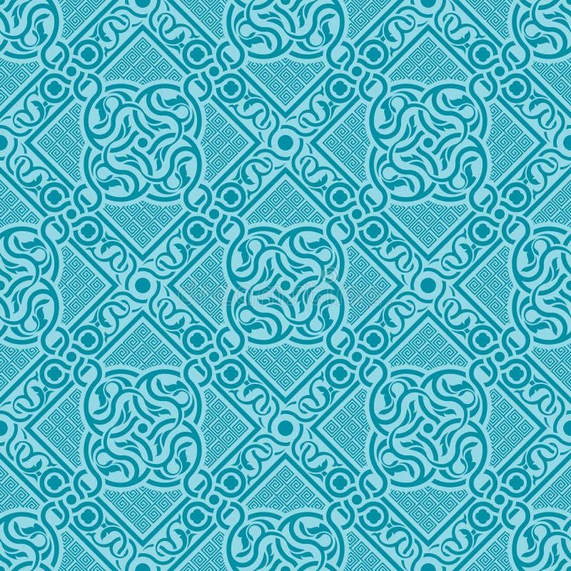 Turkoois naadloos ornament stock afbeeldingen