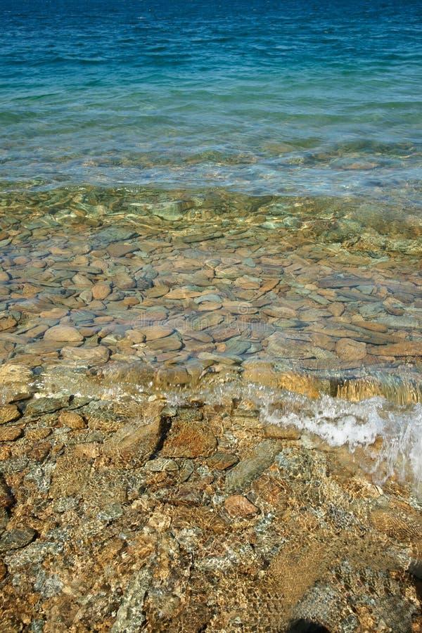 Turkoois water op stoneystrand. royalty-vrije stock foto's