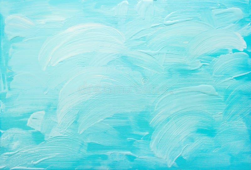 Turkooise blauwe abstracte acrylachtergrond stock afbeelding