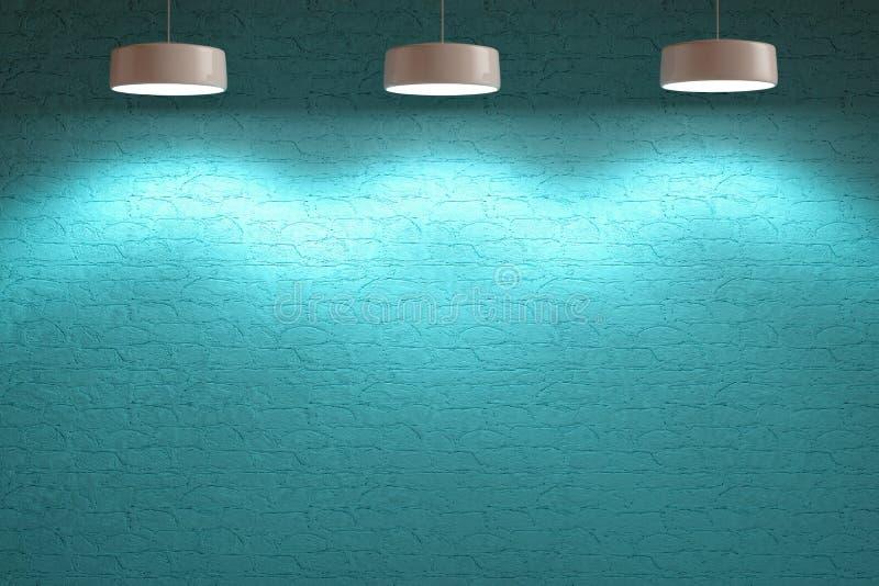 Turkooise blauwe binnenlandse steenmuur met lampen royalty-vrije illustratie