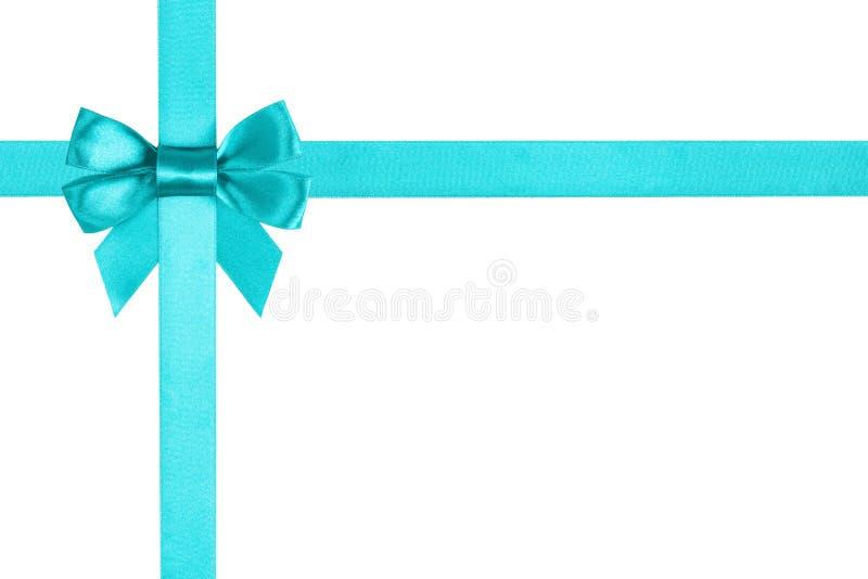 Turkooise blauwe lintboog voor verpakking royalty-vrije stock fotografie