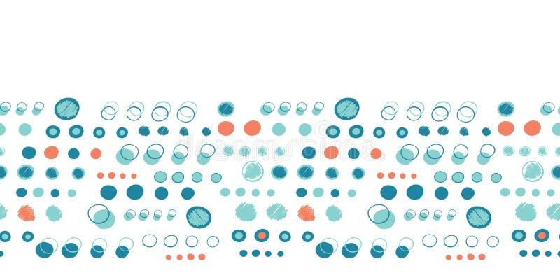 Turkooise blauwe stipcirkels De vectorachtergrond van de patroon naadloze grens r Uiterst kleine kleine gespikkeld stock illustratie