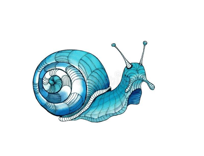 Turkooise en blauwe decoratieve slakwaterverf en inkt royalty-vrije stock afbeelding