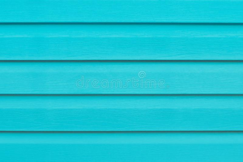 Turkooise houten lijst in lijnen Gestreepte achtergrond Groene houten latjestextuur Plank - hout Blauwe geschilderde houten raad  royalty-vrije stock afbeelding