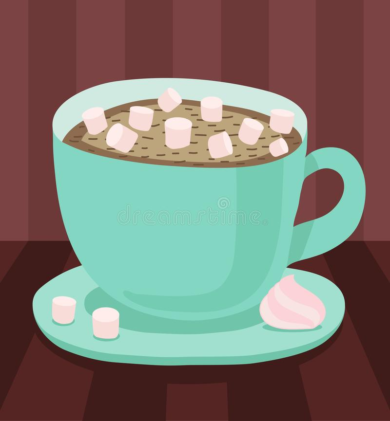 Turkooise kop met schotel, hete koffie of chocolade met een klein heemst en een schuimgebakje Vectorillustratie op donkere B royalty-vrije illustratie