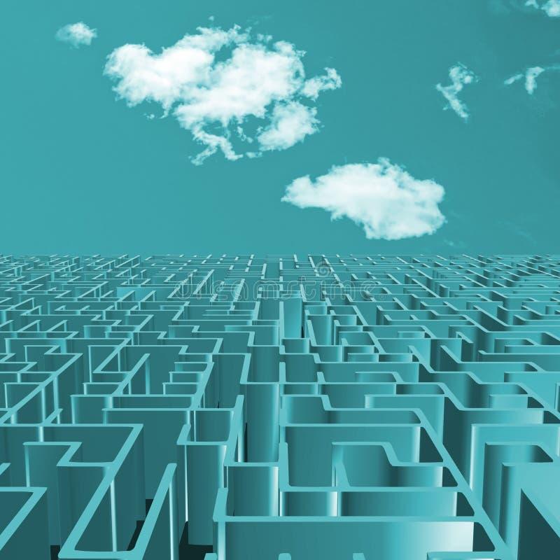 Turkooise labyrint en hemel vector illustratie