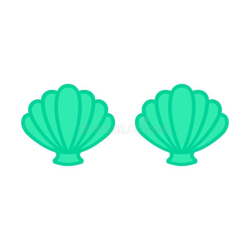 Turkooise meerminbustehouder Meerminbovenkant - t-shirtontwerp Kammossel overzeese shell clam conch Zeeschelp - vlakke vector stock illustratie