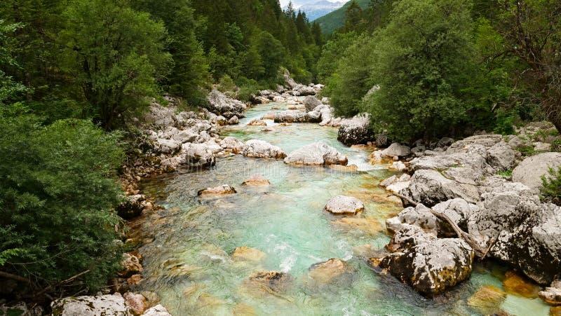 Turkooise Soca-rivier stock foto's