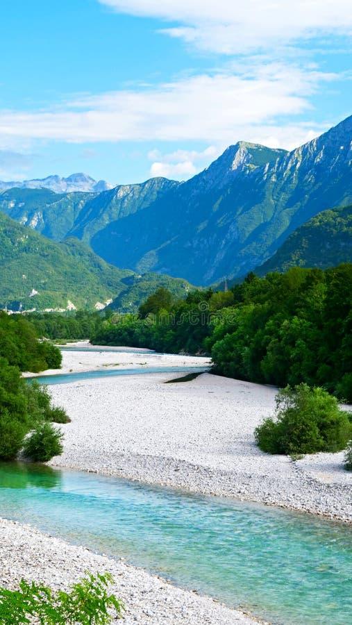 Turkooise Soca-rivier royalty-vrije stock afbeelding
