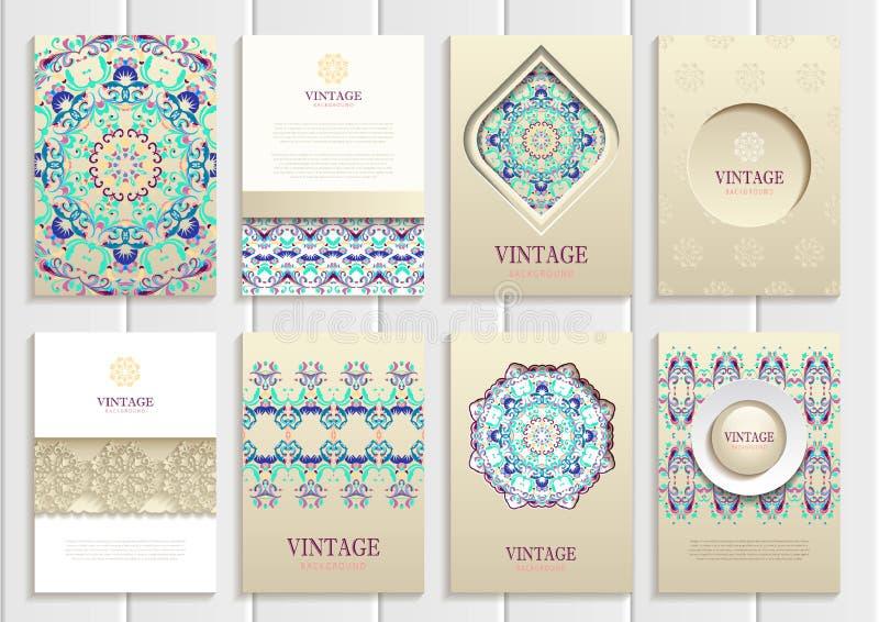 Turkooise uitstekende kaders, ornamenten, patronen en stock illustratie