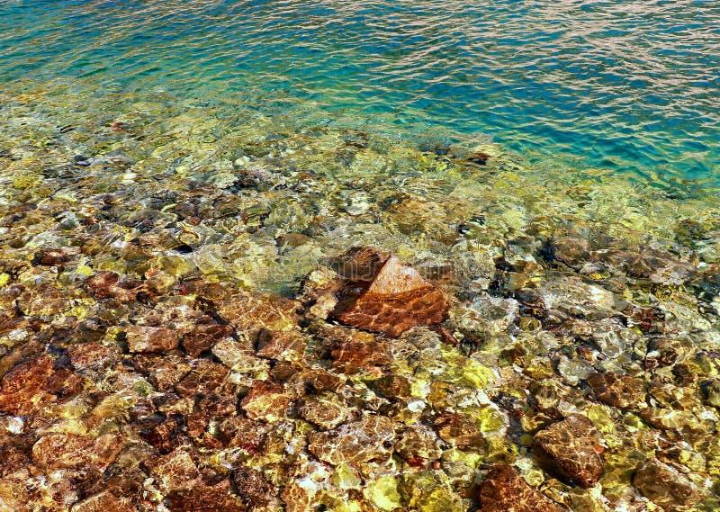 Turkos blir grund vattenyttersida och vaggar stenar p? havsgolv royaltyfria foton