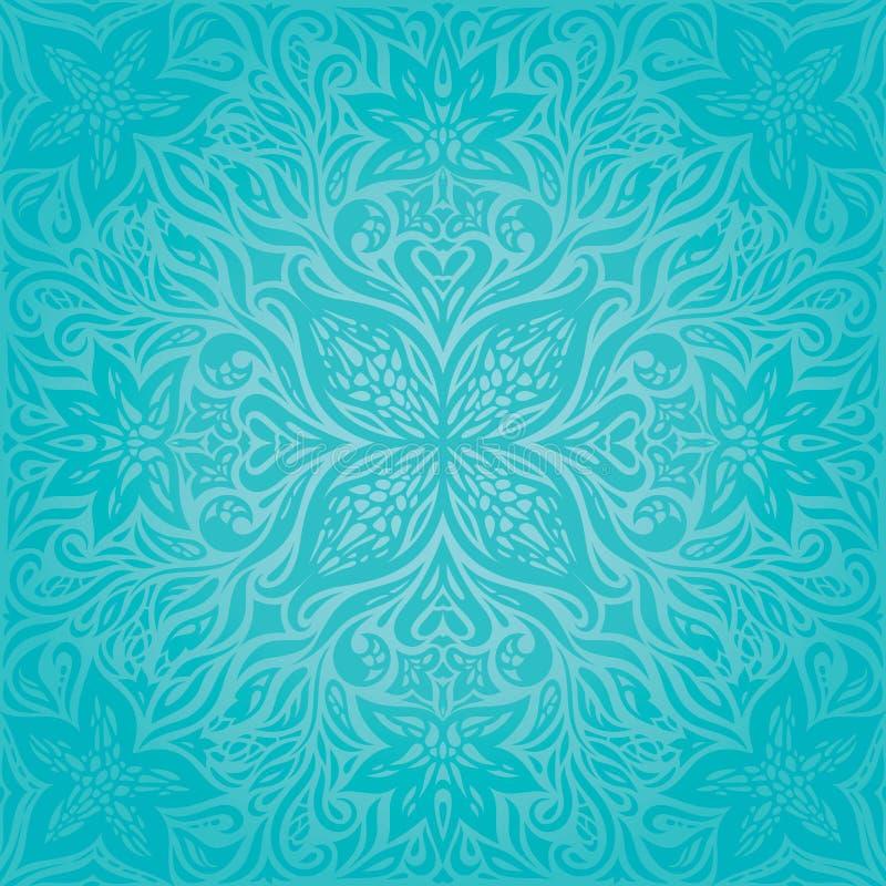 Turkos blommar, designen för mandalaen för dekorativ utsmyckad ferievektorbakgrund den blom- royaltyfri illustrationer