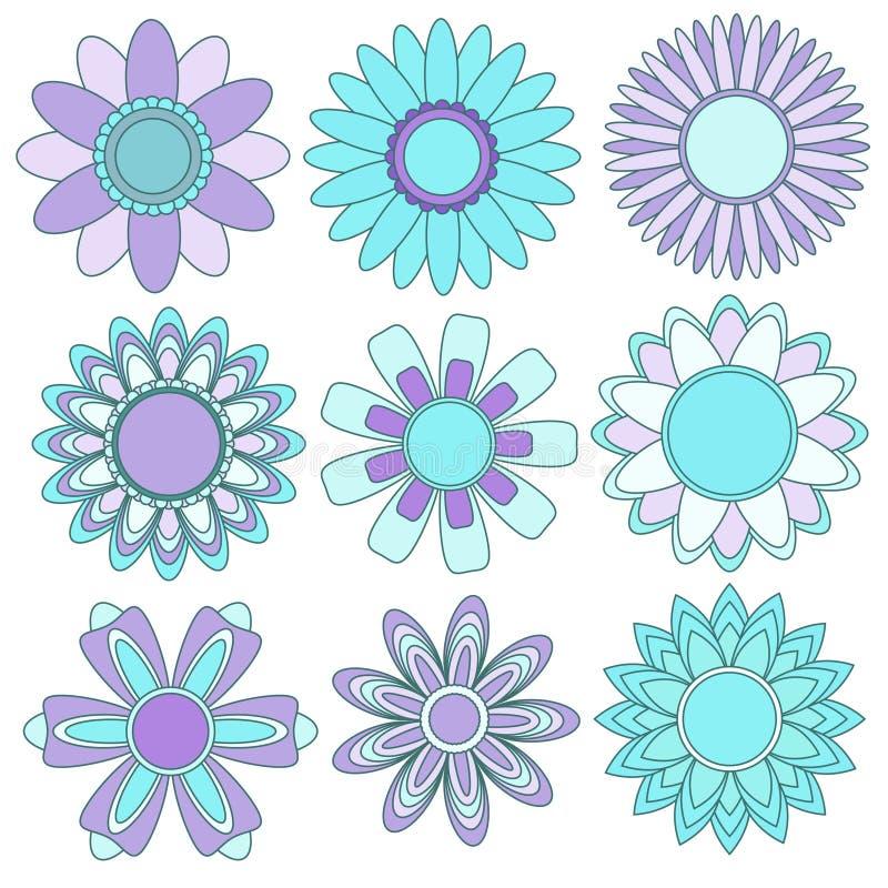 Download Turkos För Samlingsblommalila Stock Illustrationer - Illustration av design, blomma: 19788728