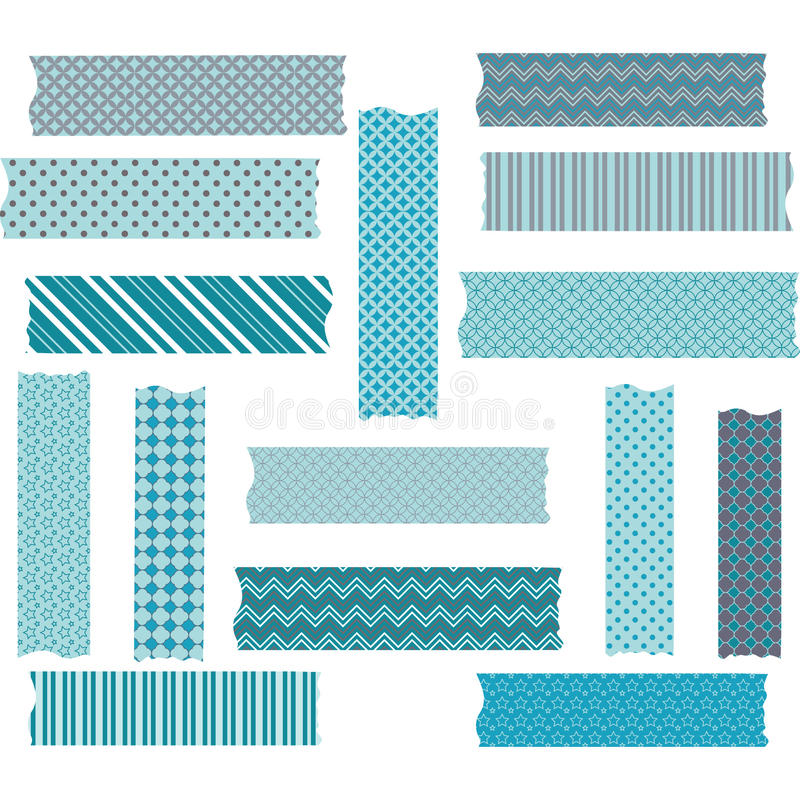 Turkos Grey Washi Tape Graphics Collections stock illustrationer