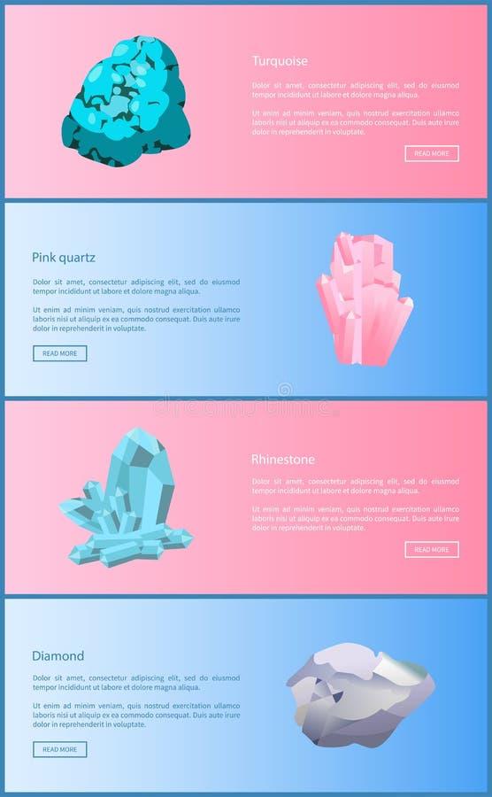 Turkos och rosa färgkvarts, bergkristall och diamant royaltyfri illustrationer