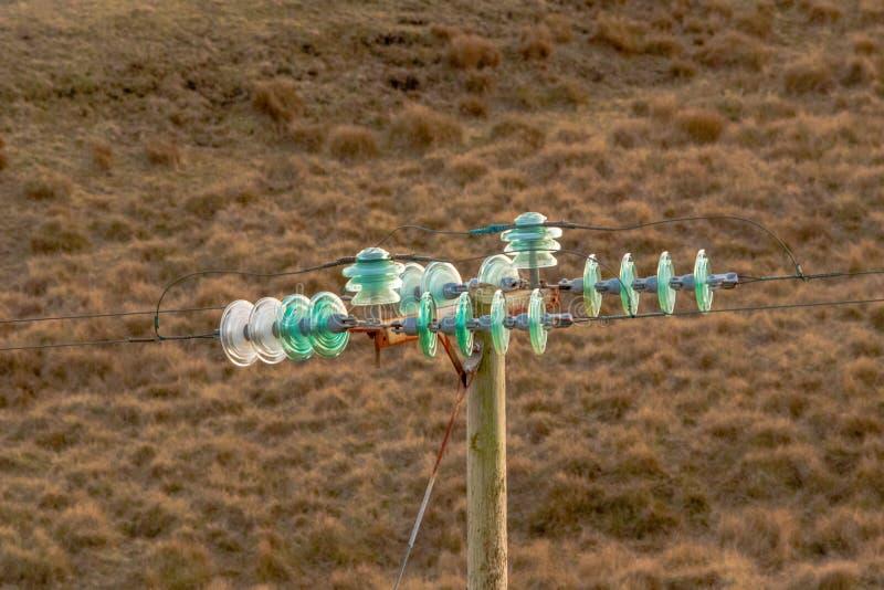 Turkos och vita elektriska isolatorer på ett brunt landskap fotografering för bildbyråer