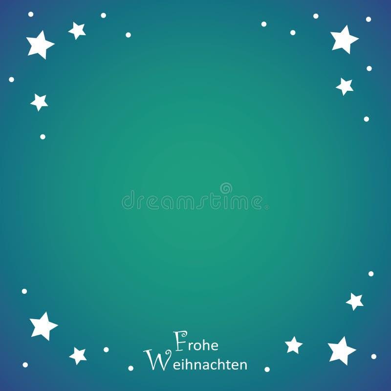 Turkosbakgrund för glad jul med vita stjärnor royaltyfri illustrationer