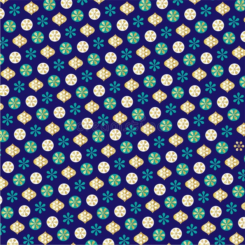 Turkosblåttguld blänker vintermodellen royaltyfri illustrationer