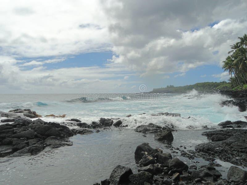 Turkoshavet på den stora ön av Hawaii fotografering för bildbyråer