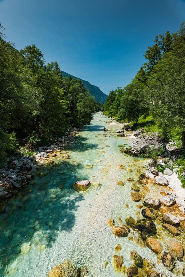 Turkosvatten i den Soca floden, Slovenien royaltyfri foto