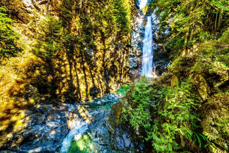 Turkosvattnet av kaskadnedg?ngar i Fraser Valley av British Columbia, Kanada fotografering för bildbyråer