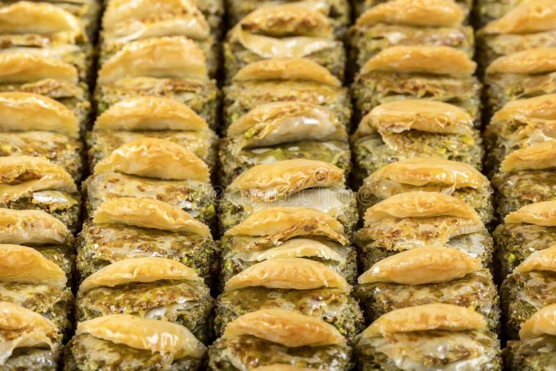 Turks Dessert Baklava met conceptenachtergrond royalty-vrije stock fotografie