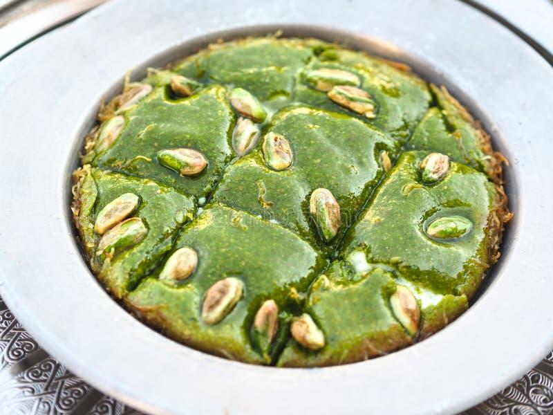 Turks dessert met pistachedeeg zoet; gebied van Turkije-Gaziantep stock fotografie