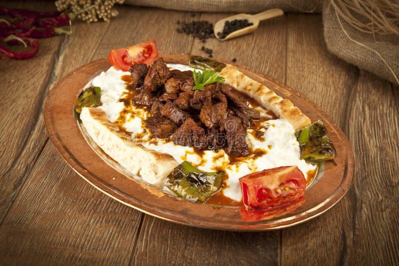 Turks Kebabaubergine en vlees alinazik royalty-vrije stock afbeeldingen
