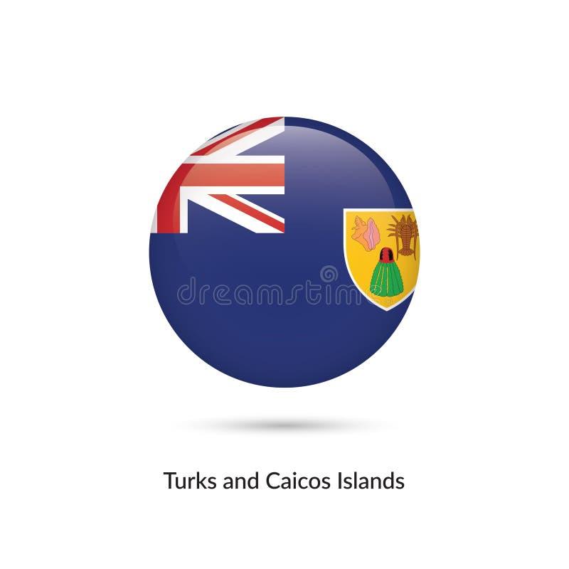 Turks- och Caicosöarna flagga - rund glansig knapp royaltyfri illustrationer