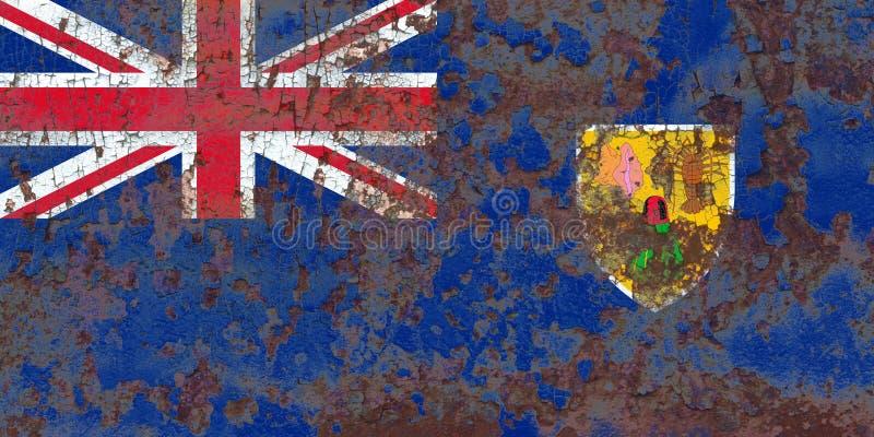 Turks- och Caicosöarna grungeflagga, brittiska utländska Territori royaltyfria foton