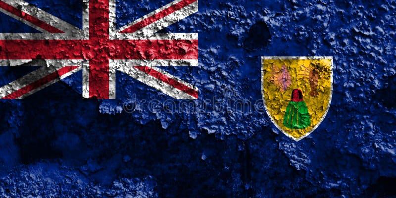 Turks- och Caicosöarna grungeflagga, brittiska utländska Territori fotografering för bildbyråer
