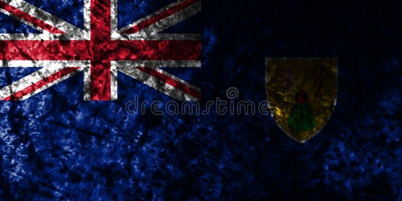Turks- och Caicosöarna grungeflagga på den gamla smutsiga väggen, beroende territorium flagga för brittiska utländska territorier royaltyfri illustrationer