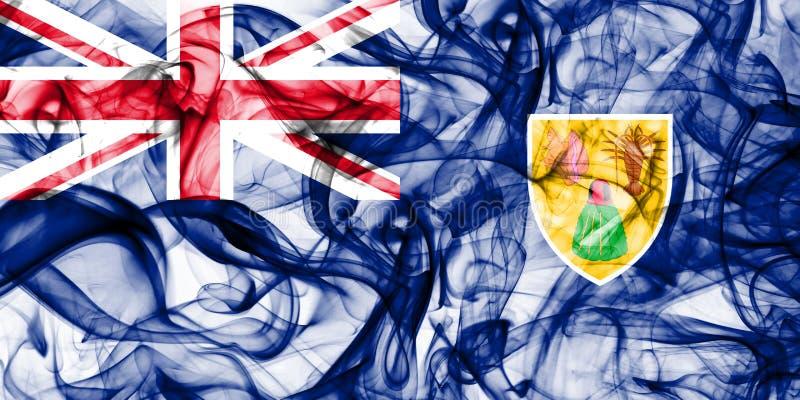 Turks- och Caicosöarna röker flaggan, beroende territoriet flagga för brittiska utländska territorier, det Britannien royaltyfri bild