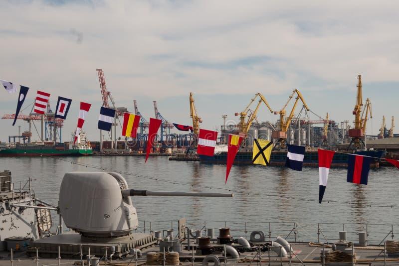 Turks oorlogsschip in de haven van Odessa De NAVO strijdkrachten in de Oekraïne odessa ukraine 2019 03 06 stock afbeeldingen