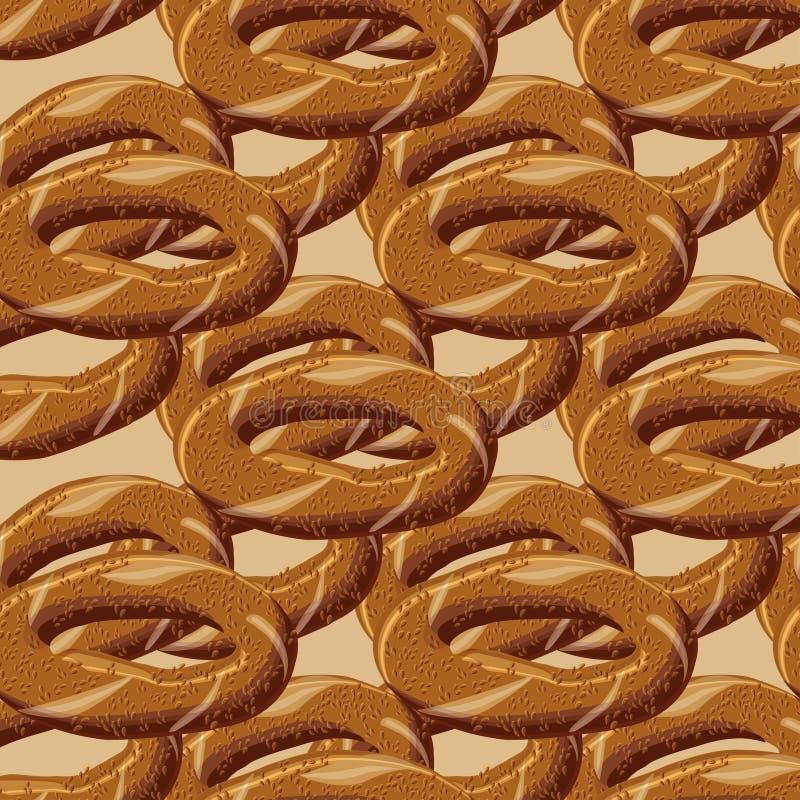 Turks traditioneel heerlijk ongezuurd broodje simit naadloos patroon royalty-vrije stock afbeelding