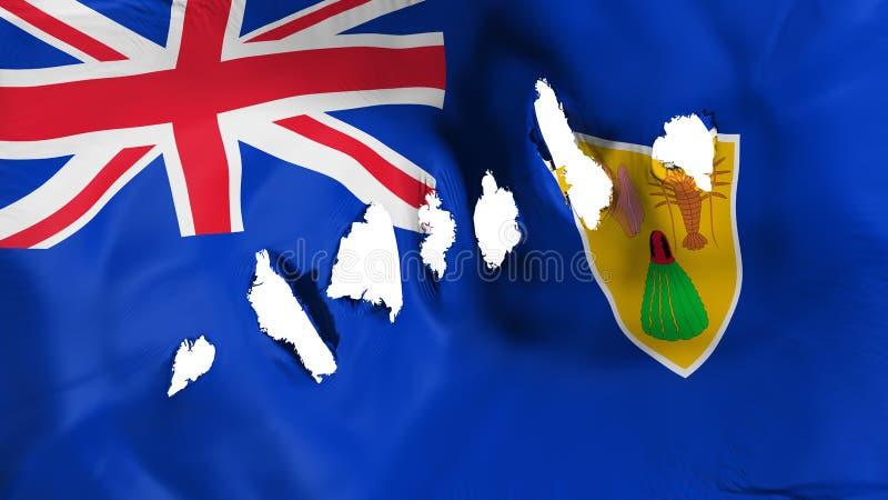 Turks- und Caicosinseln-Flagge durchlöcherte, Einschusslöcher stock abbildung