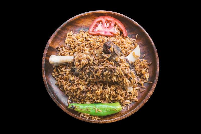 Turks Voedsel Ankara Tava/Lamsvlees op zwarte achtergrond stock afbeelding