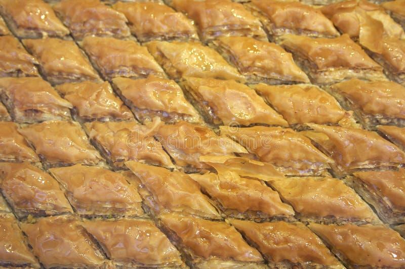Turkse baklava in ruitvorm stock afbeeldingen
