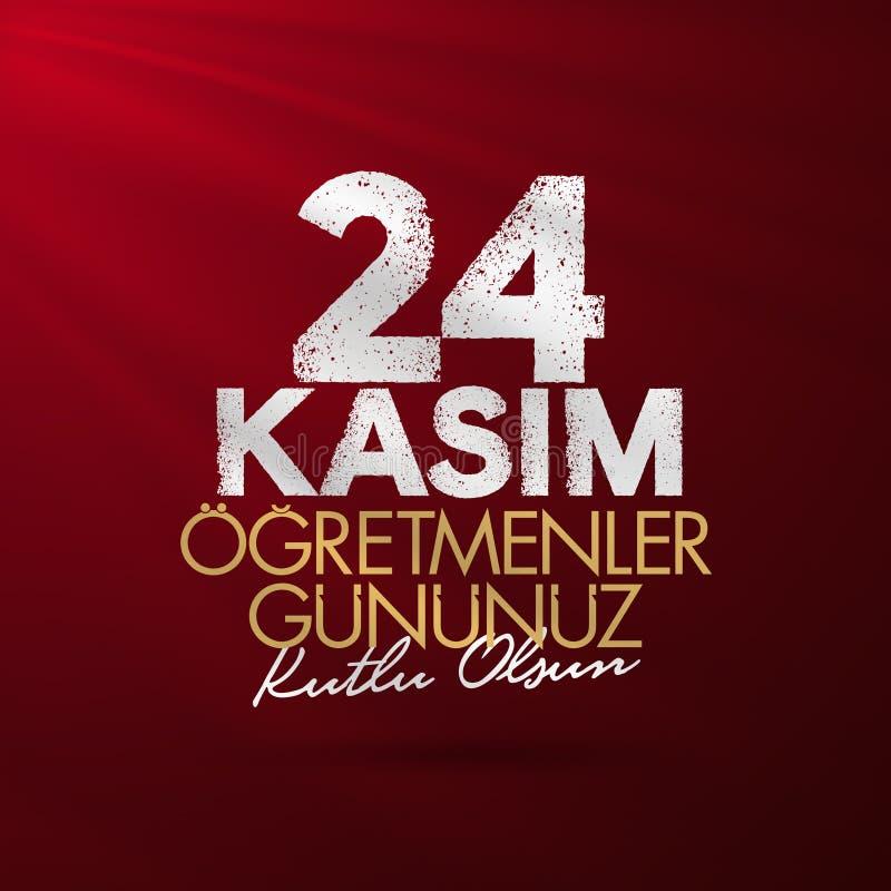 24 Turkse de Lerarendag van november, Aanplakbordontwerp Turks: 24 november, de Dag van Gelukkige Leraren RT: 24 Kasim Ogretmenle stock illustratie