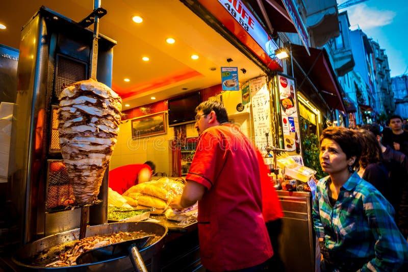 Turkse doner kebab verkoper royalty-vrije stock foto's