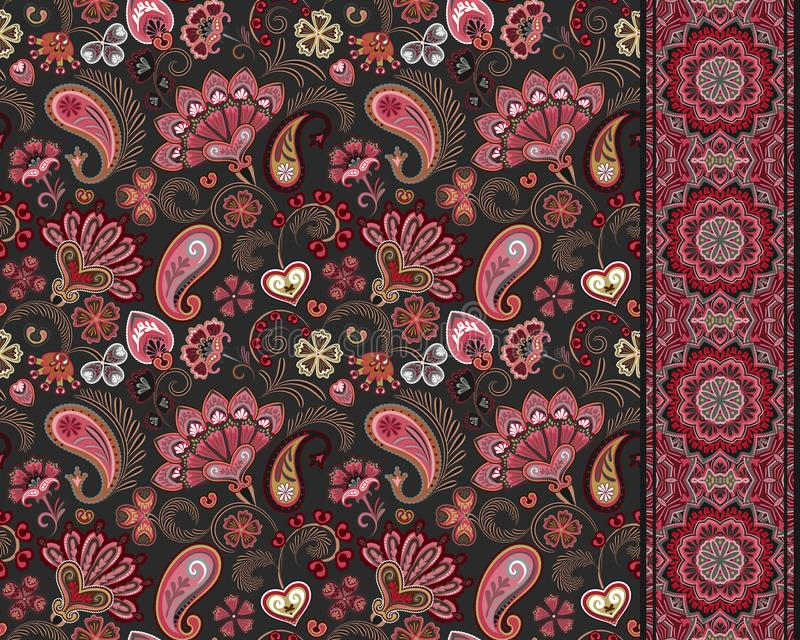 Turkse komkommers Oosters motief Naadloze ornament en grens voor stoffen, Behang, achtergrond Vector illustratie vector illustratie