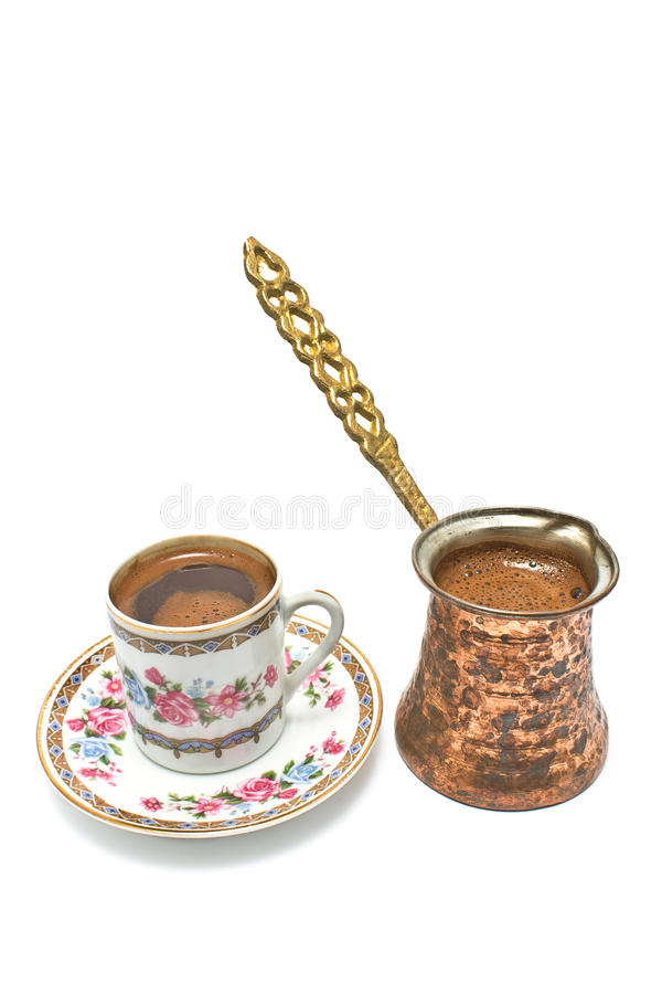 Turkse kop van koffie met pot royalty-vrije stock foto's